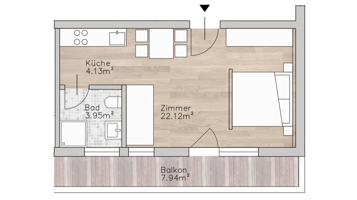 grundriss appartement studio 1 für 2-3 personen in oetz